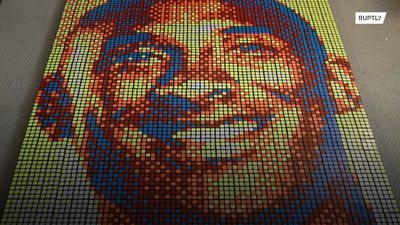 Kobe Bryant fan uses hundreds of Rubik's Cubes in tribute to NBA legend