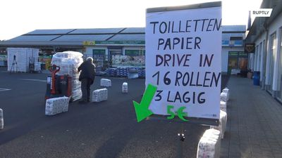 Toilet paper drive-in set up by Dornburg store in response to coronavirus panic buying