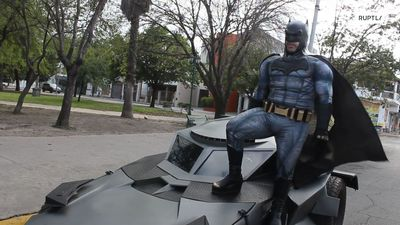 Mexico's 'Batman' patrols Monterrey in his Batmobile, asking people to stay home to fight coronaviru