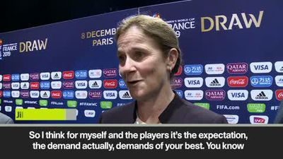 US women football coach Jill Ellis speaks about pressure from being reigning champions