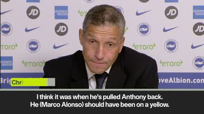 Hughton 'angry' Alonso didn't see red in Chelsea defeat