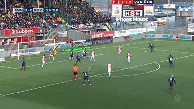 Emmen goalkeeper troubles PSV defence in their shock 2-2 Eredivisie draw