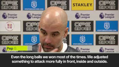 Guardiola happy with Man City's 3-0 win over Huddersfield as gap to league leaders Liverpool is r...