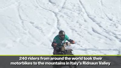 Motorbikes take to the mountains in 'Race and Snow' event in Italy
