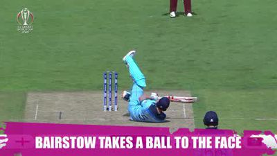 Jonny Bairstow hit on the head by a ball as England beat the West Indies