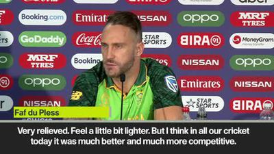"Du Plessis ""very relieved"" after South Africa beat Afghanistan for first World Cup win"
