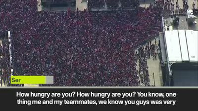 'You were hujngry, we cooked you this trophy' Ibaka at Toronto Raptors rally