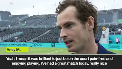 Murray 'happy' to be back playing after doubles victory at Queens