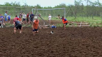 Swamp soccer tournament takes place in forest in St. Petersburg, Russia