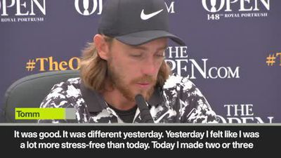"Tommy Fleetwood ""happy"" with excellent second round at The Open"