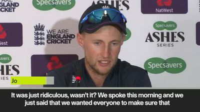 Joe Root reacts as England win the third Ashes Test