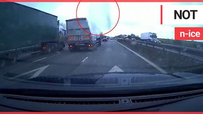 Watch heart-stopping moment huge sheet of ice smashes car windscreen after falling off moving lorry