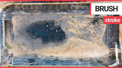 Artist uses derelict outdoor pool to create giant sand picture of her late grandmother