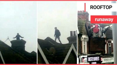 Police capture man who was running across rooftops