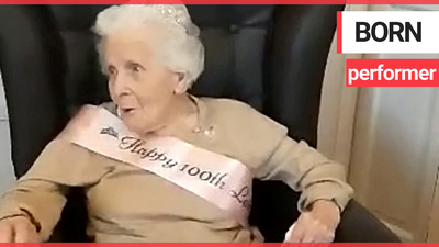 Great-gran celebrates 100th birthday singing rendition of 'When You're Smiling'