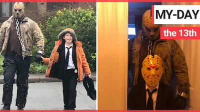 Dad granted son's birthday wish to be picked up from school by Jason Voorhees