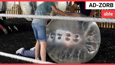 Man gets stuck in big inflatable Zorbing ball