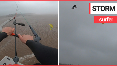 Adrenaline junkie kite surfs in 80mph winds during Storm Ciara
