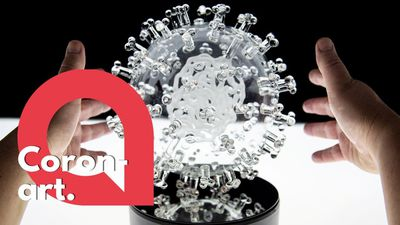 Artist unveils beautiful glass sculpture of coronavirus