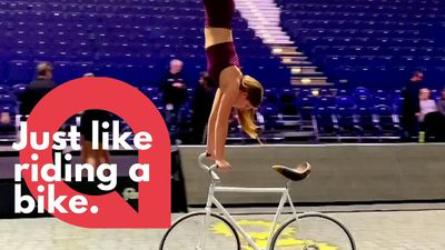 Meet the artistic cyclist who can ride a bike while doing a handstand
