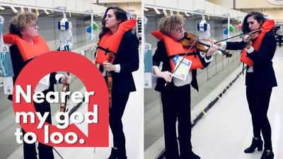 Violinists serenade empty loo roll shelves with Titanic hymn