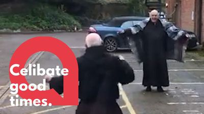 Monks show off dance moves in car park