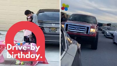 A girl who was lonely on her birthday gets surprised by friends in a drive-by parade