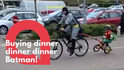 Batman and Robin spotted cycling outside a supermarket