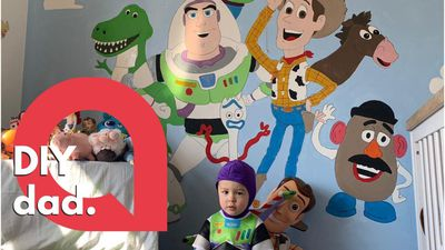 Father transforms son's room with a freehand Toy Story themed wall