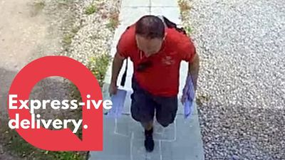 Postman hopscotches his way up a path to deliver mail