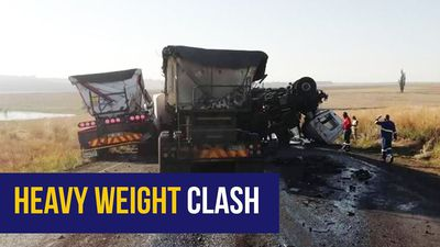 WATCH: Scary dashcam footage shows how two trucks collide head-on in Mpumalanga