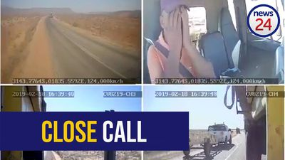 WATCH: Dashcam captures truck driver's close call