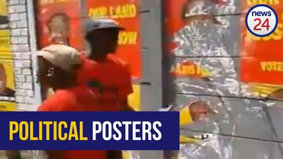 WATCH: EFF supporters tear down ANC election posters