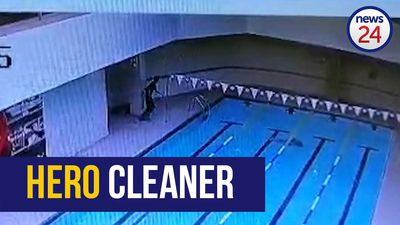 WATCH: Hero gym cleaner saves swimmer from drowning