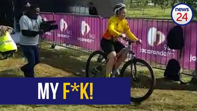 WATCH: Marelize finishes cycle race after a few falls and hitting a tree