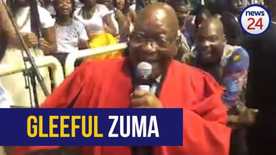 WATCH: Jubilant Zuma sings Umshini Wami at daughter's graduation ceremony