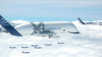 The entire commercial Airbus fleet flying in formation for 50th celebration