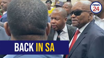 WATCH | Back in SA: Jacob Zuma arrives at OR Tambo Airport