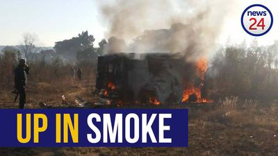 WATCH   Hot money: Cash-in-transit gang's loot goes up in smoke after they blow up van
