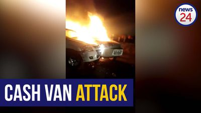 WATCH | Two cash vans engulfed in flames after bombing by armed gang