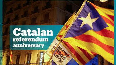 Catalans march to mark referendum anniversary