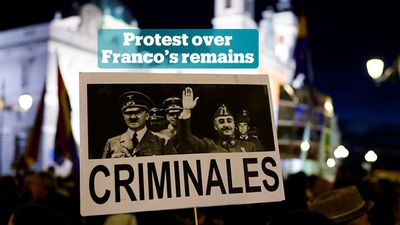 Protesters oppose transfer of Franco's remains to cathedral in Madrid