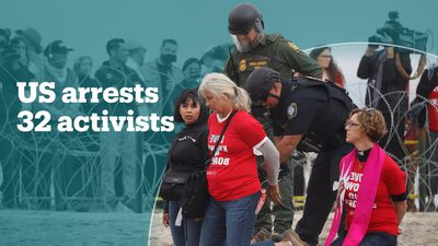 US riot police arrest 32 protesters at border demonstrations
