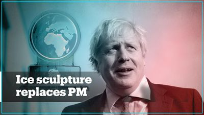 Boris Johnson replaced by ice sculpture in climate change debate