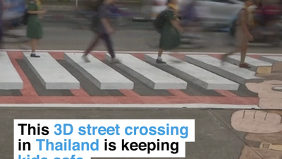 These students from Thailand painted a 3D pedestrian crossing to keep their schools safe