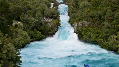 Check Out This Incredible Blue Waterfall In New Zealand!