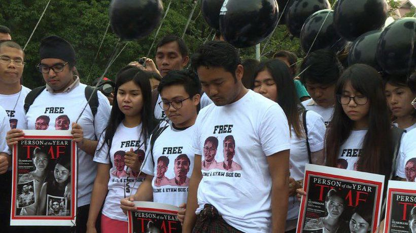 Rally in Yangon to mark anniversary of Reuters reporters' arrest