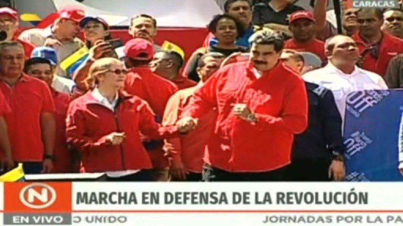 Venezuelan president Maduro dances at pro-government rally