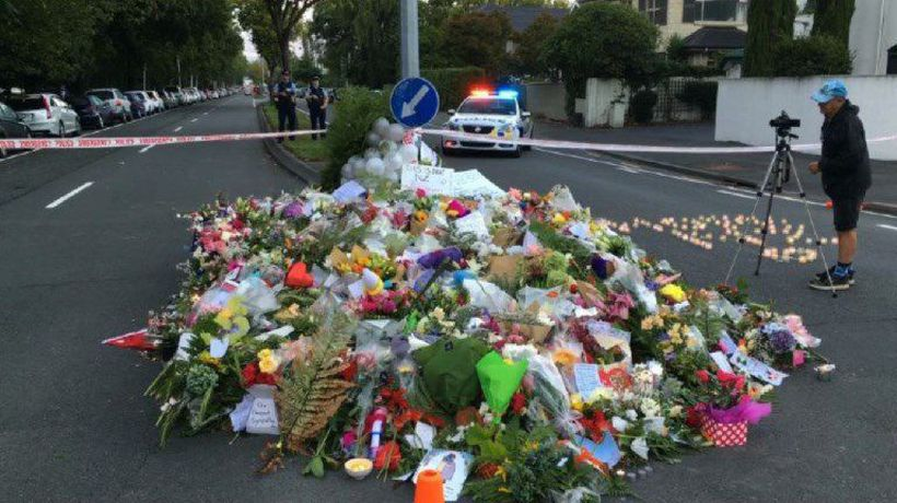 Floral tribute in Christchurch after attack on mosques