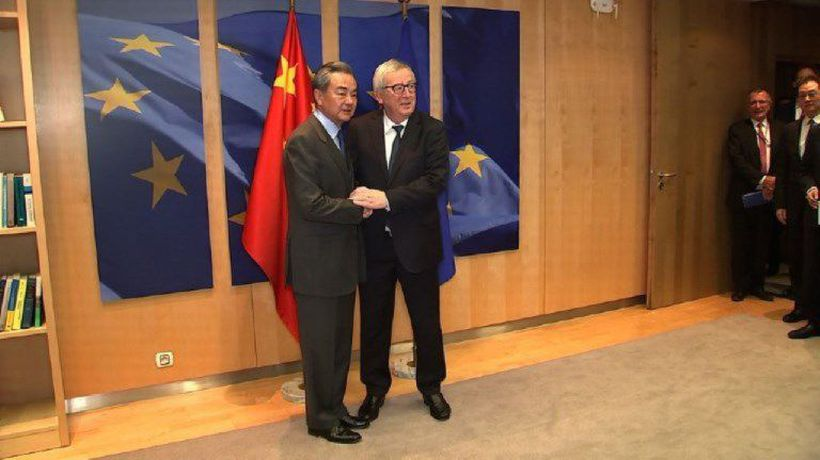 EU's Juncker, China's Wang Yi meet in Brussels